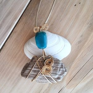 Wire Wrapped Driftwood Teal Bead Pendant Necklace
